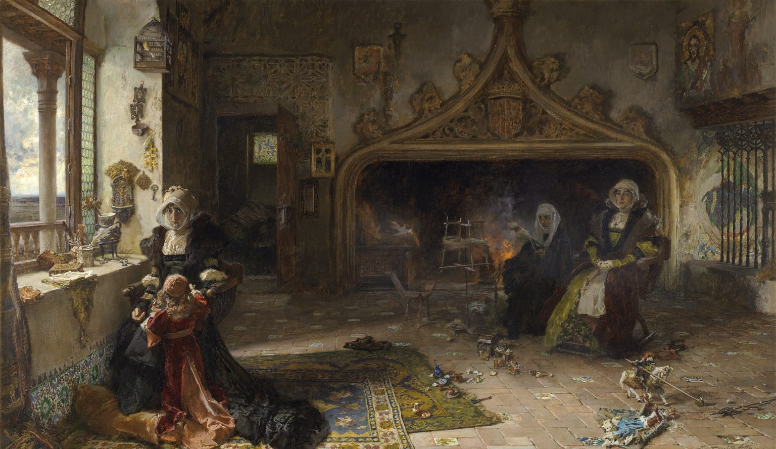 2-La-reina-dona-Juana-la-Loca-recluida-en-Tordesillas-con-su-hija-la-infanta-dona-Catalina-Francisco-Pradilla-y-Ortiz-Museo-del-Prado-1536x888