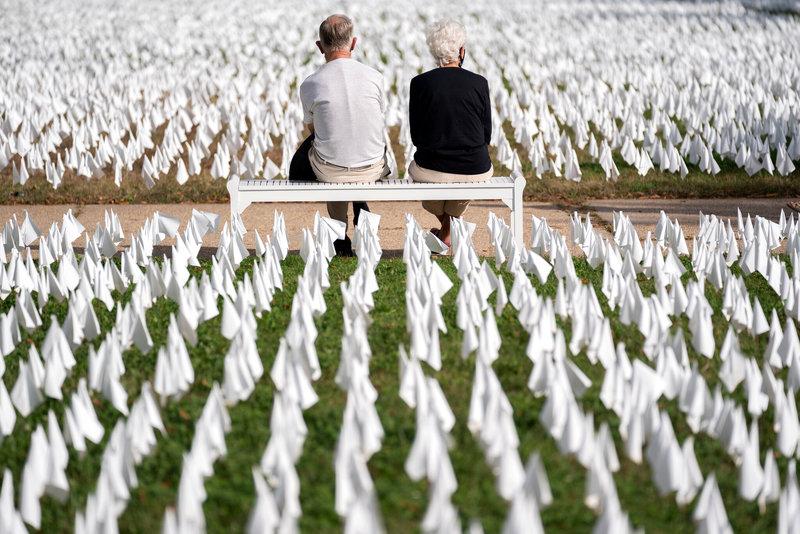 چیدمان هنری به یاد آور: ۶۶۰هزار پرچم سفید به یاد قربانیان کرونا