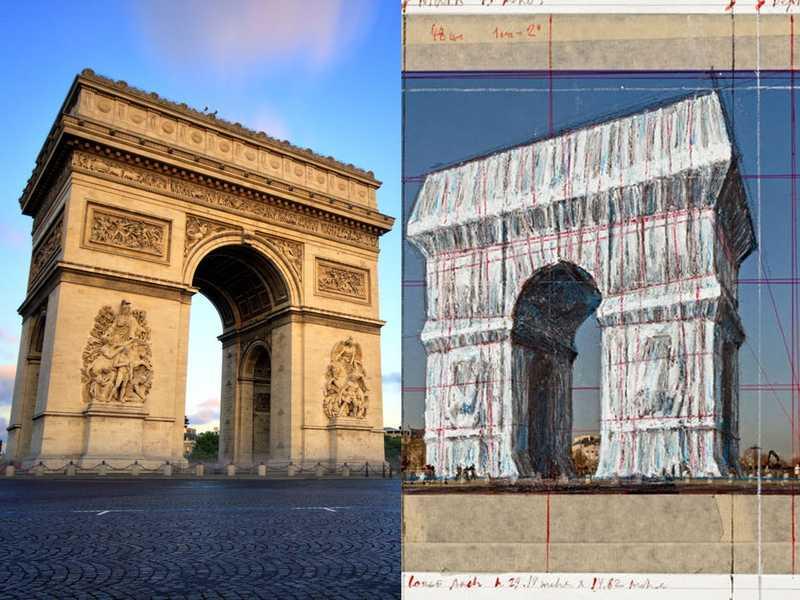 بسته بندی طاق پیروزی پاریس اخرین پروژه کریستو و ژان کلود در حال اجراست